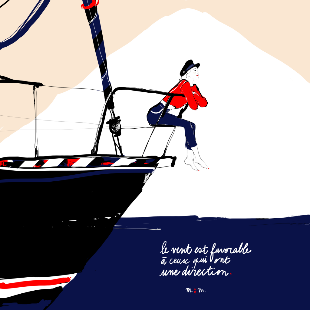 Illustration voilier femme évasion par Margot Changeon
