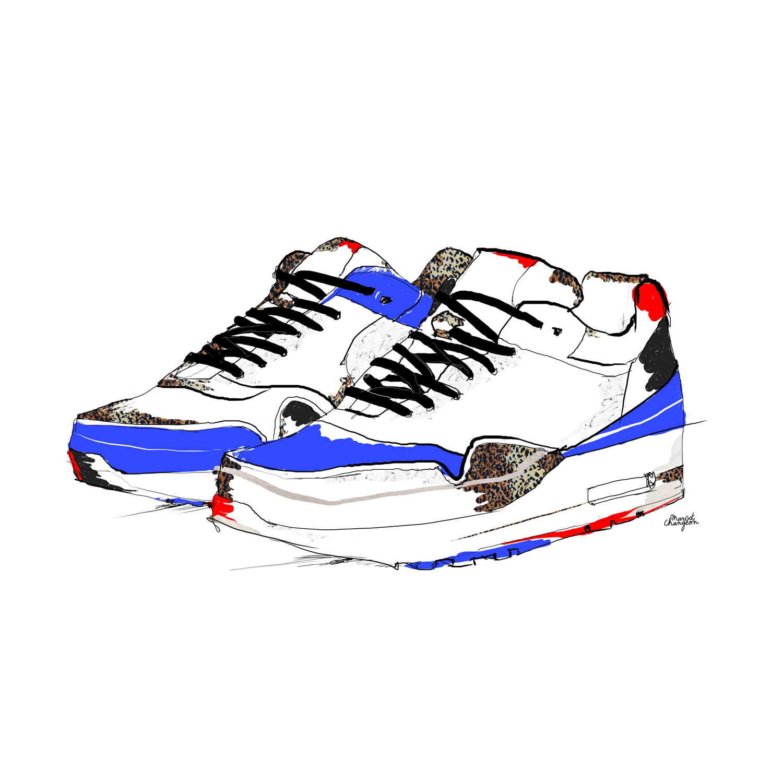 Baskets bleues.