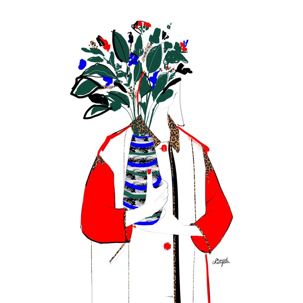 Illustration bouquet de fleurs femme par Margot Changeon