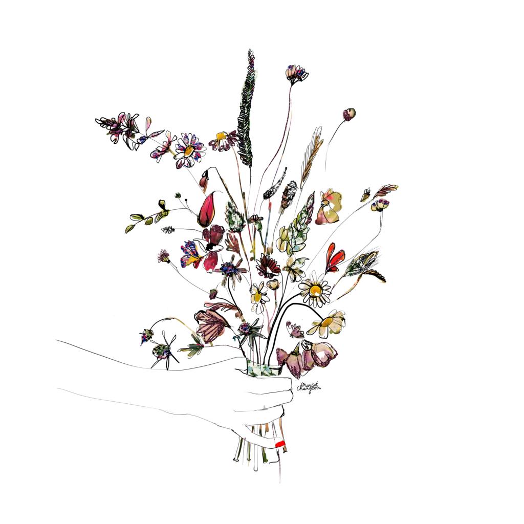 Illustration bouquet de fleurs sauvages par Margot Changeon.