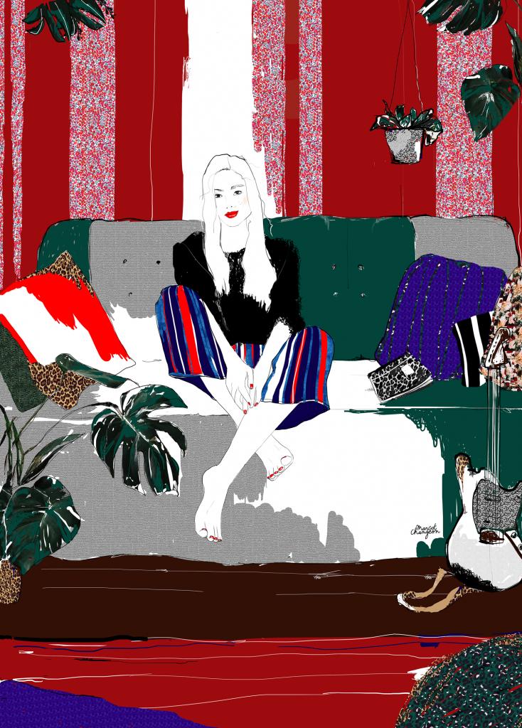Illustration femme bohème, mode, lifestyle et décoration, par Margot Changeon