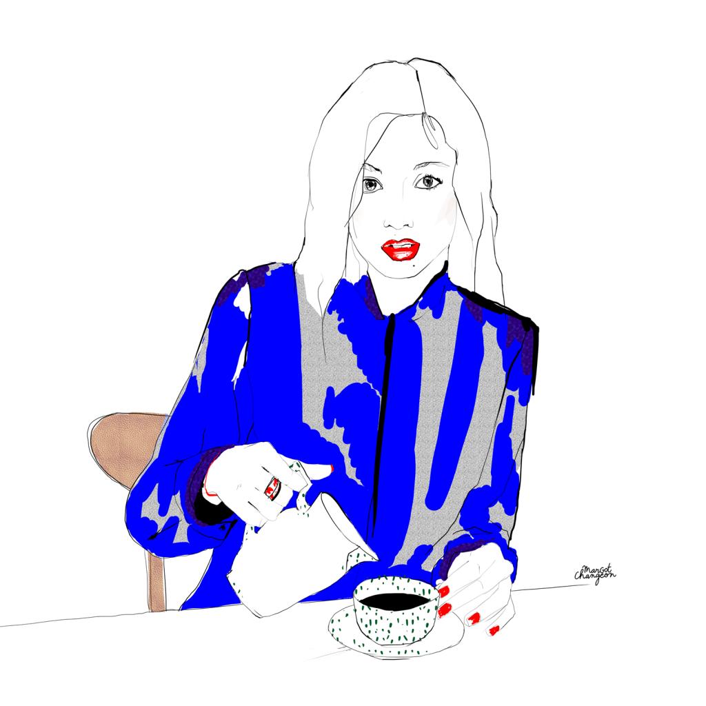 Illustration femme café par Margot Changeon