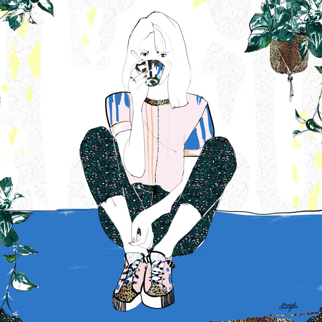 Illustration femme mode café par Margot Changeon