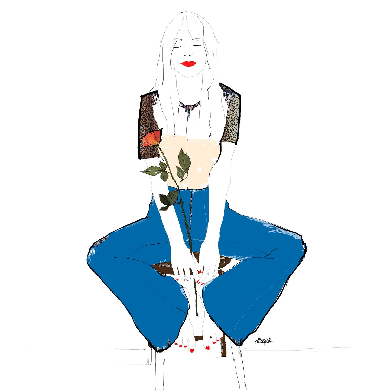 Illustration femme saint-valentin fleurs par Margot Changeon.