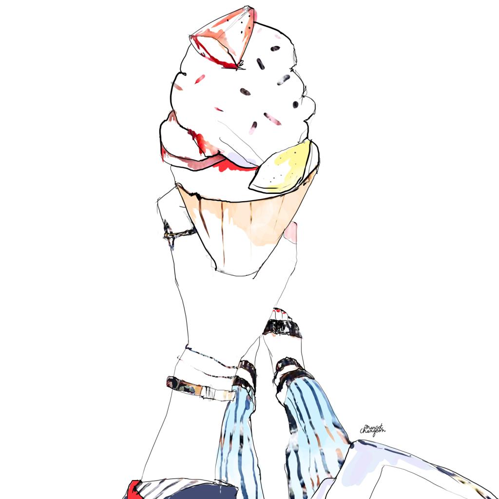 Illustration glace gourmandise par Margot Changeon