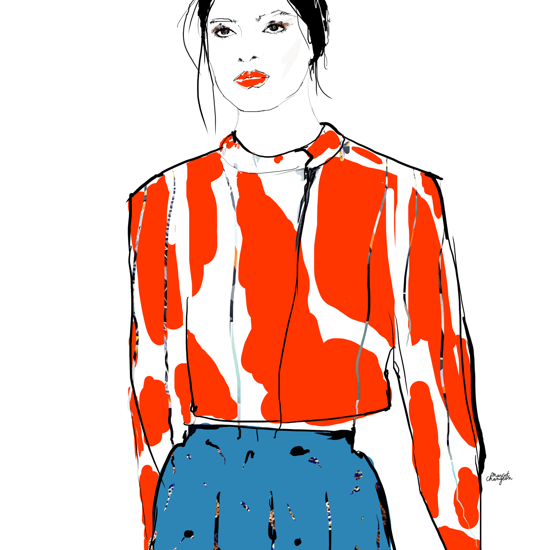 Illustration femme mode motifs par Margot Changeon.