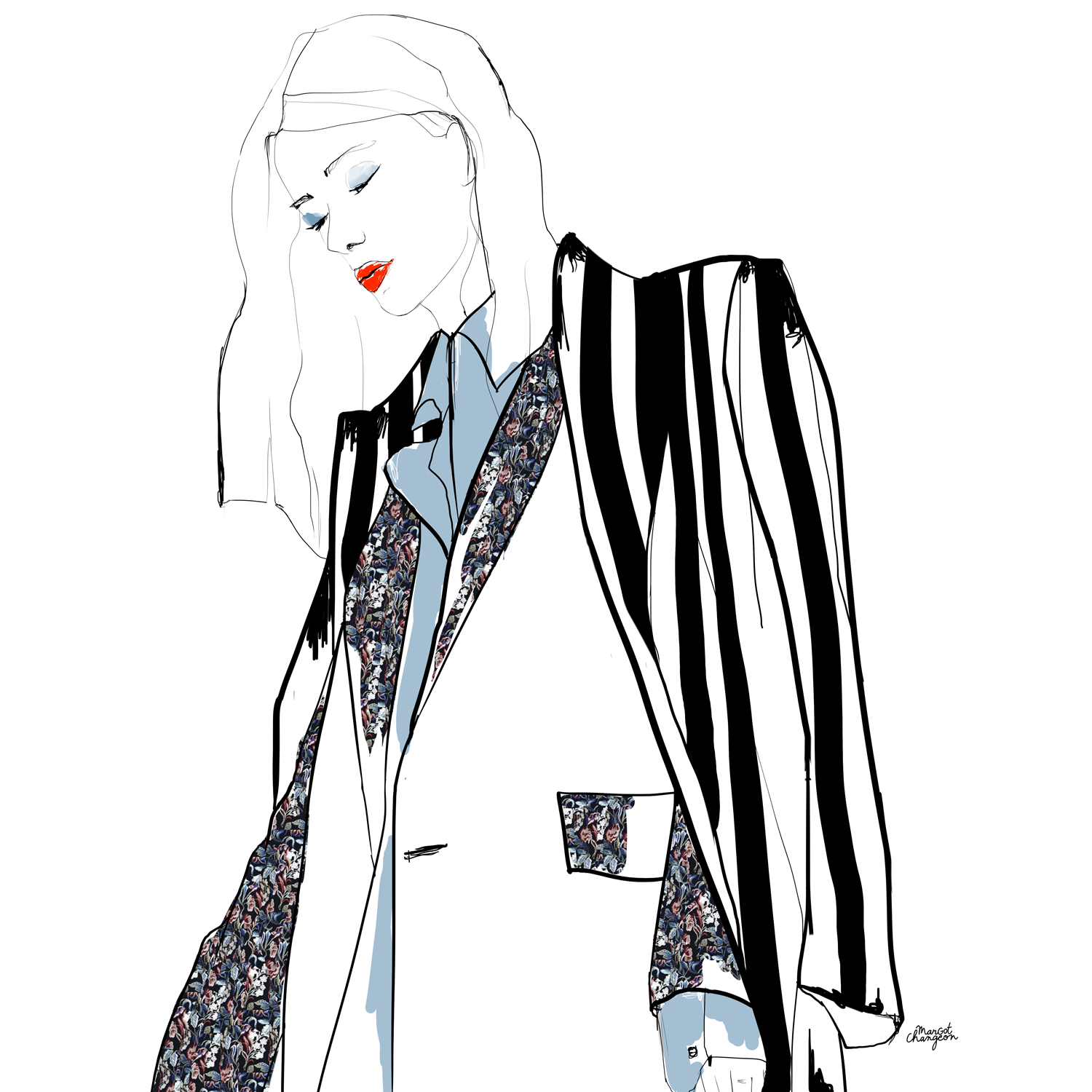 Illustration femme veste mode par Margot Changeon.