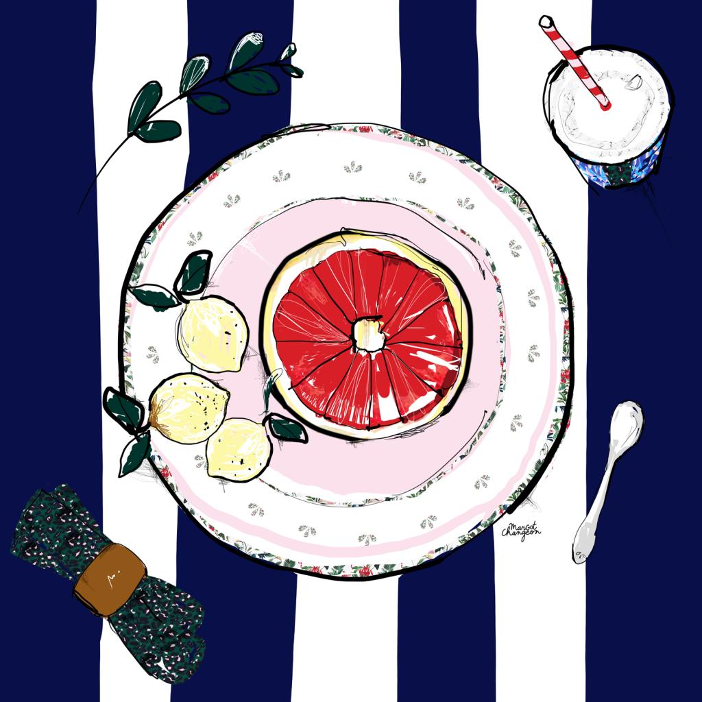 Illustration assiette gastronomie pamplemousse par Margot Changeon.