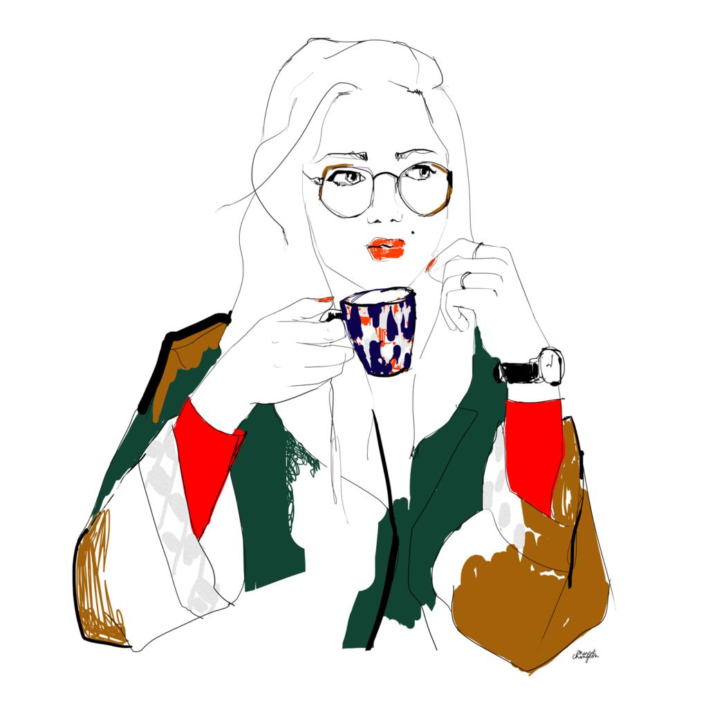 Illustration femme lunettes mode café par Margot Changeon